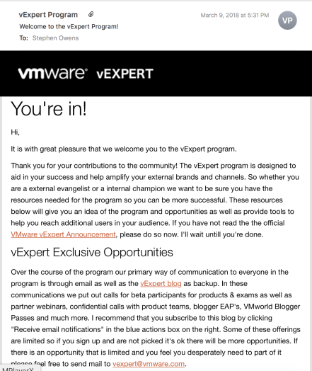 vExpert Confirmation