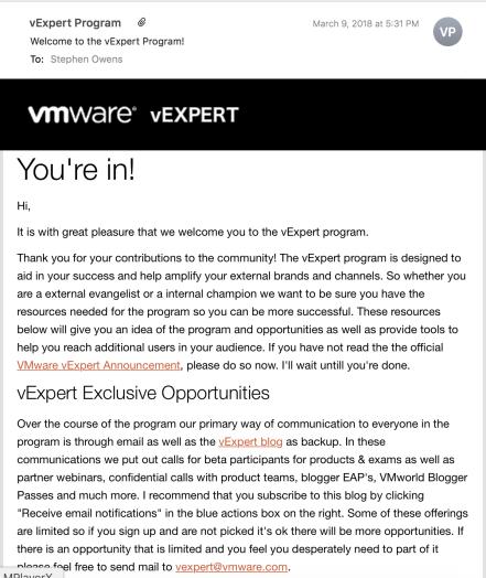 vExpert Confirmation